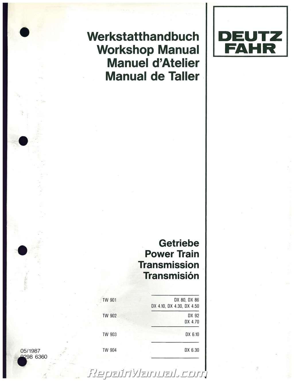 deutz allis model dx120 transmission service manual rh repairmanual com Deutz Diesel Engine Service Manuals Deutz Tractors
