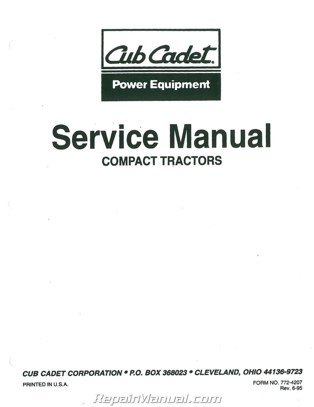 cub cadet 7000 series compact tractor service manual form 772 4207 rh repairmanual com 1862 Cub Cadet Starter Cub Cadet I1046 Parts Diagram
