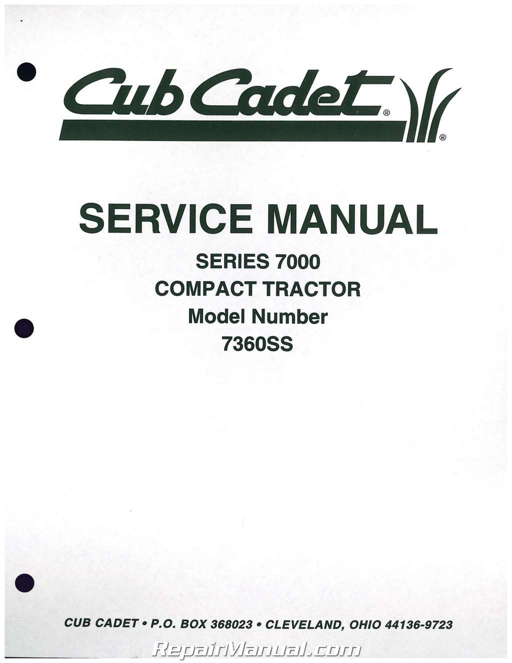 cub cadet 7000 series compact tractor service manual form 772 4207 rh repairmanual com Cub Cadet Electrical Diagram 1862 Cub Cadet Starter