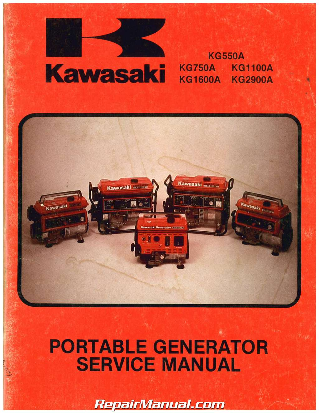 Kawasaki Kg550a Kg750a Kg1100a Kg1600a Kg2900a Portable Generator Service Manual