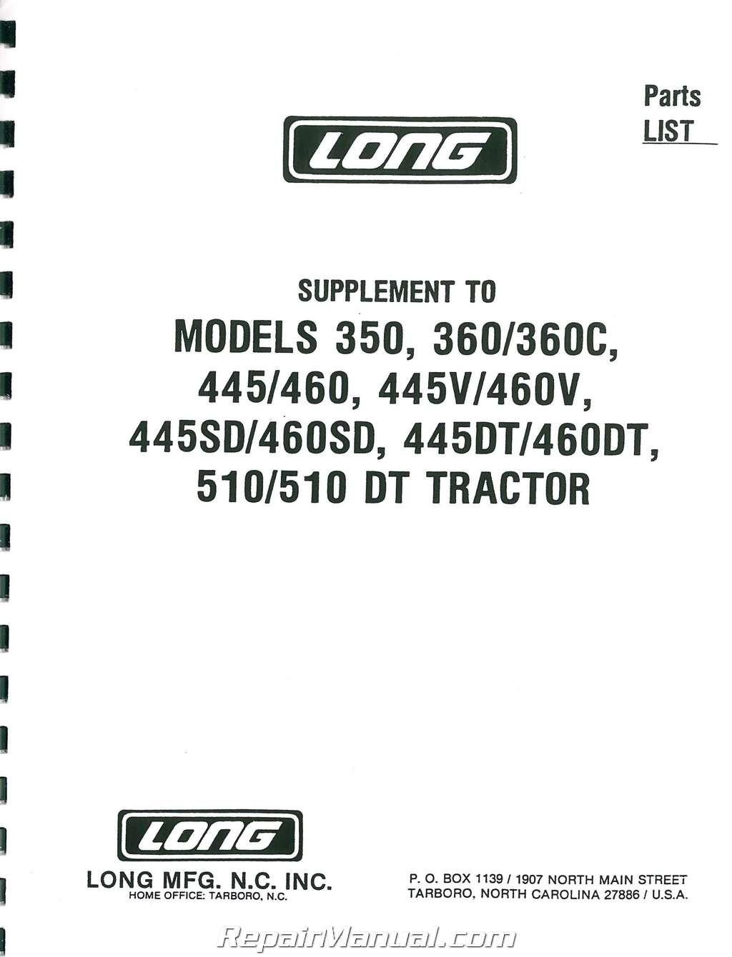 Long 350 tractor Repair manual