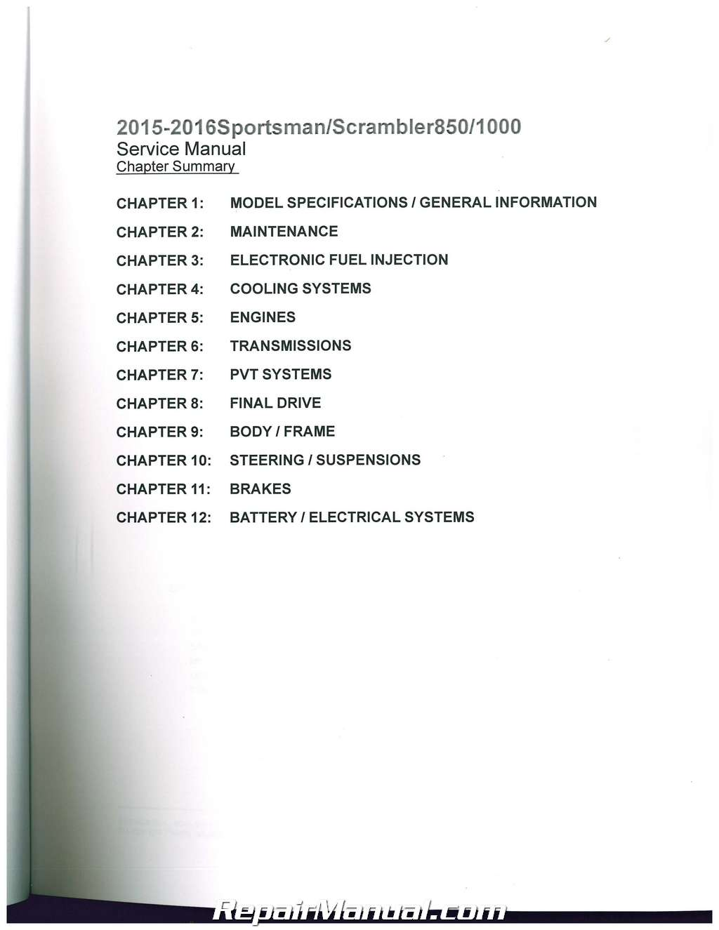 2015 Sportsman 6x6 Service Manual Pdf
