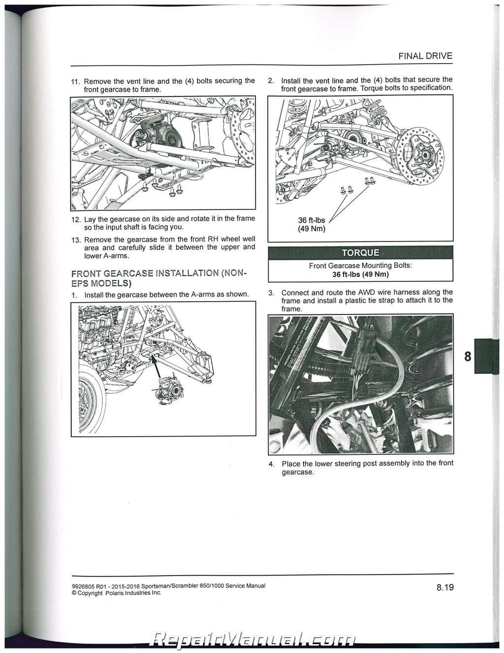 Rzr 1000 Dimensions >> 2015-2016 Polaris Scrambler Sportsman 850 1000 ATV Service