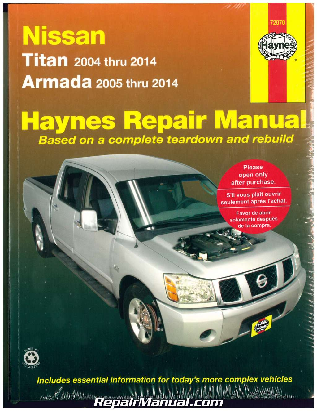 Nissan Titan 2004-2014, Nissan Armada 2005-2014 Haynes Automotive Repair  Manual