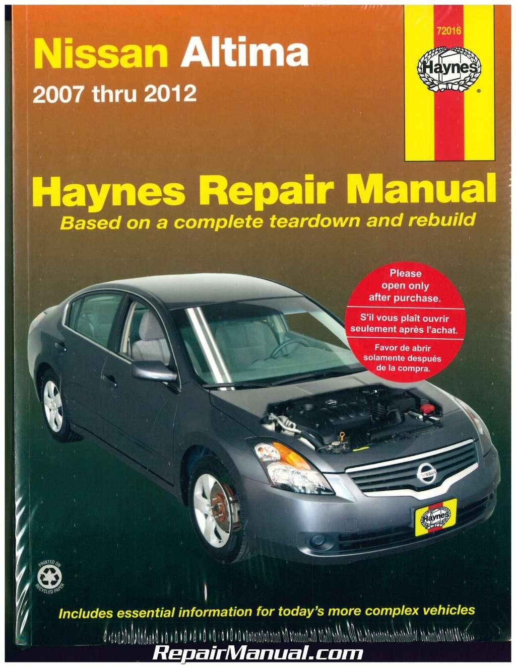 haynes nissan altima 2007 2012 auto repair manual. Black Bedroom Furniture Sets. Home Design Ideas