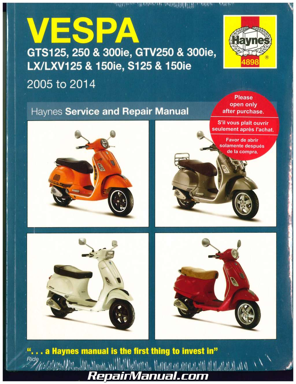 Vespa Scooters Haynes Repair Manual 2005-2014 GTS125/250/300ie GTV250/300ie  LX/LXV125/150ie S125/150ie
