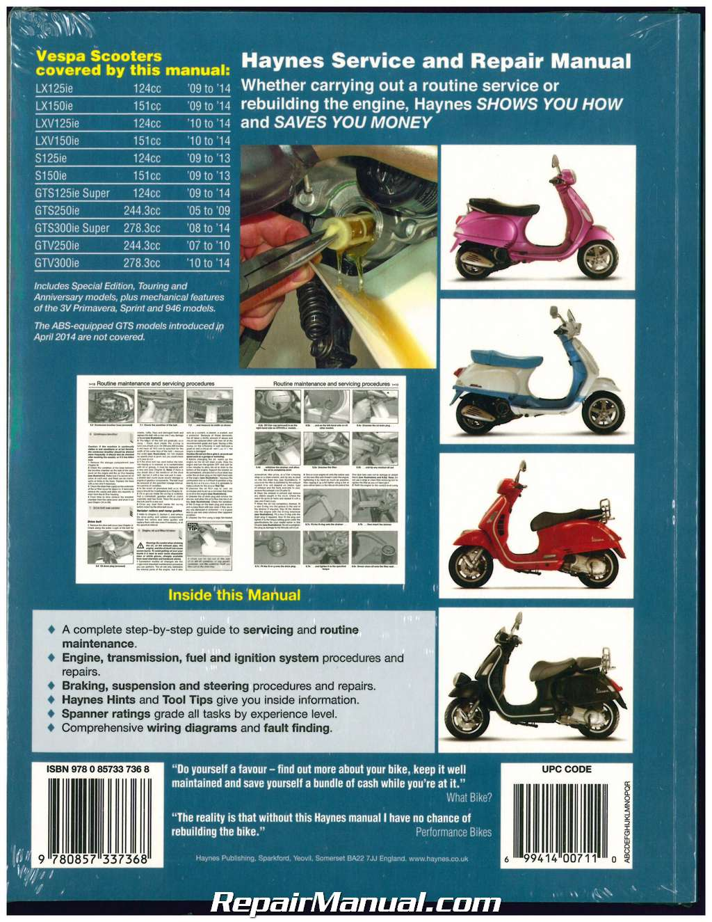Piaggio Mp3 250 Ie 2006 2007 2008 2009 Repair Manual Auto Renault Workshop Service Wiring Diagram 2012 Pack Vespa Scooters Haynes 2005