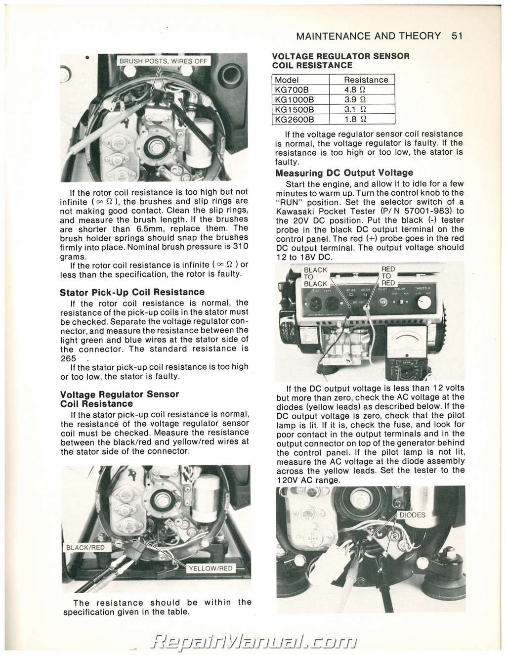 Kawasaki KG700B KG1500B KG1000B KG2600B Portable Generator Service Manual