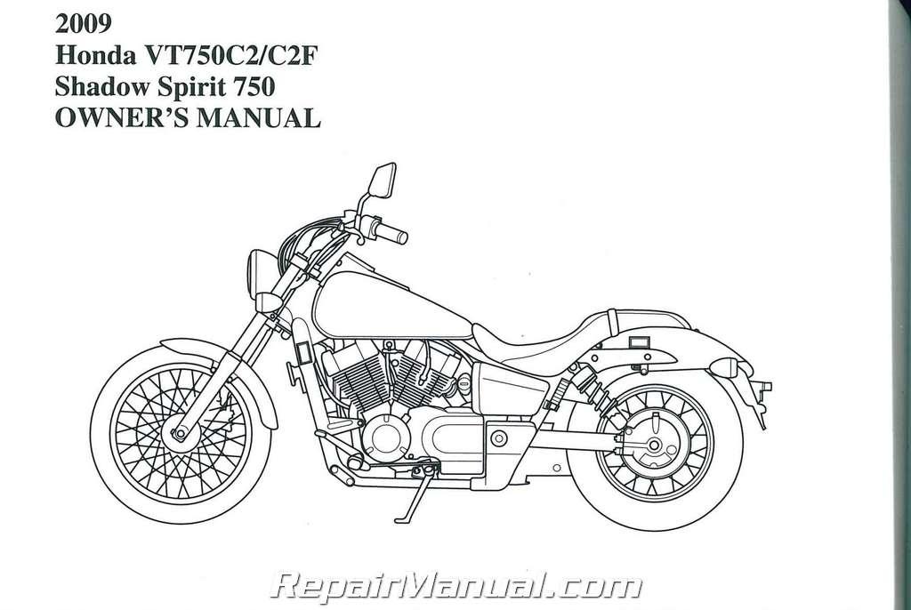2009 honda vt750c2 shadow spirit motorcycle owners manual
