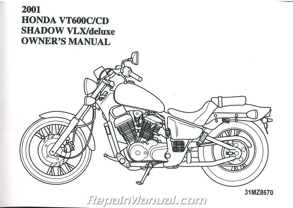 2001 honda vt600 shadow vlx deluxe motorcycle owner manual