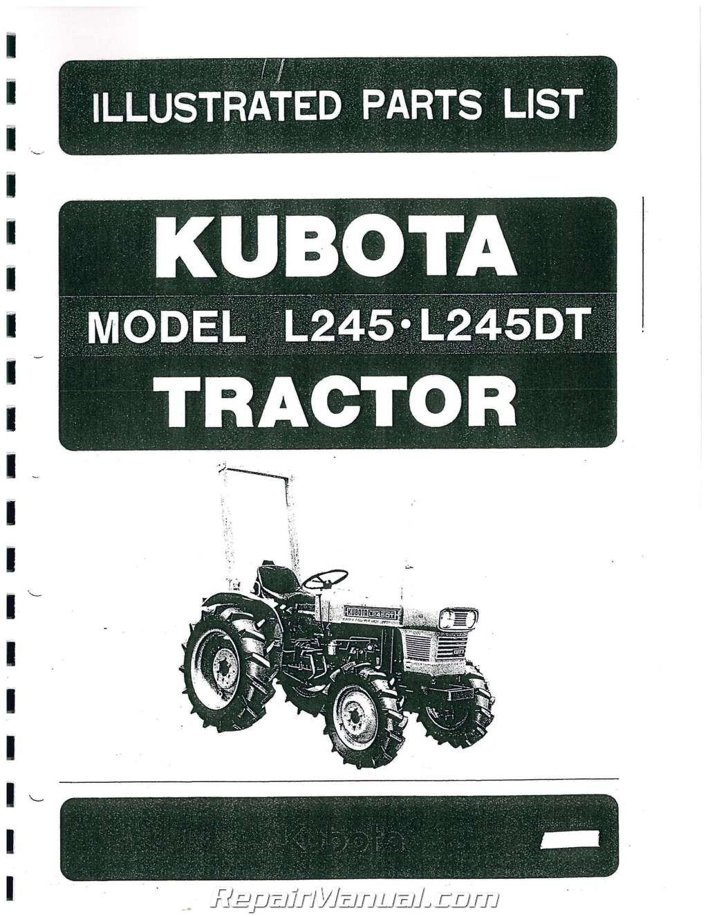 Kubota L245 Tractor Parts : Kubota l dt dsl wd tractor parts manual