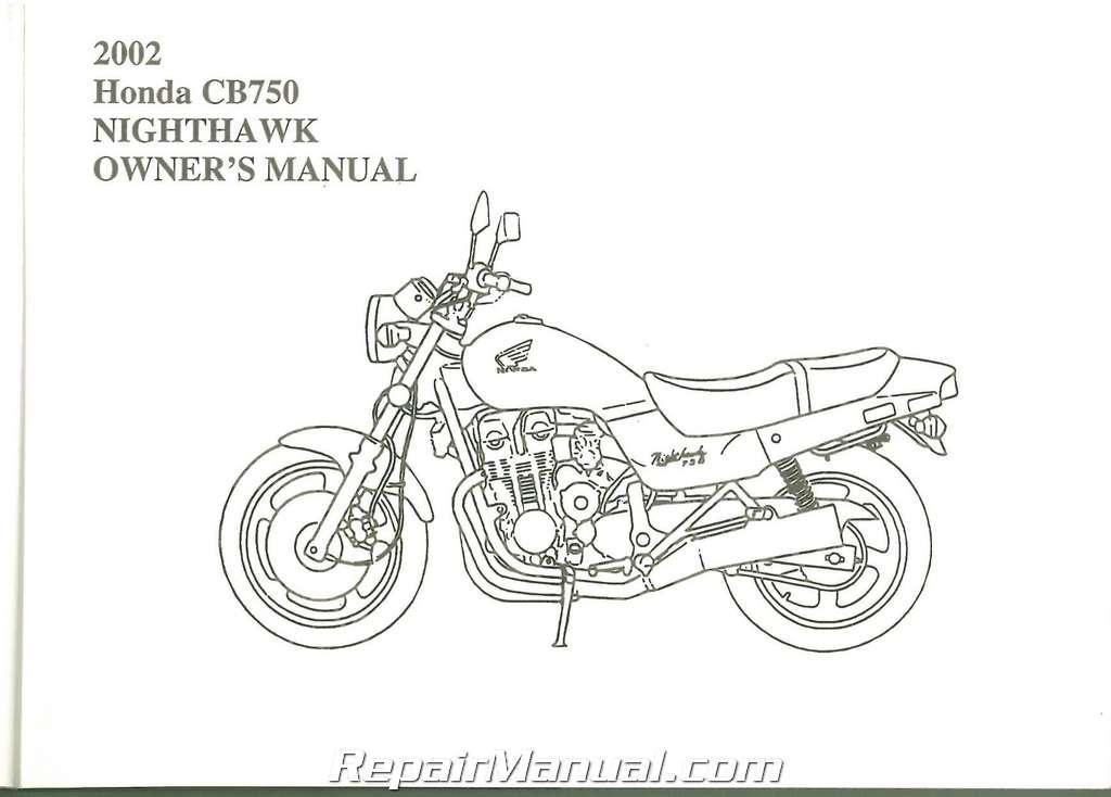 2002 honda cb750 nighthawk motorcycle owner manual