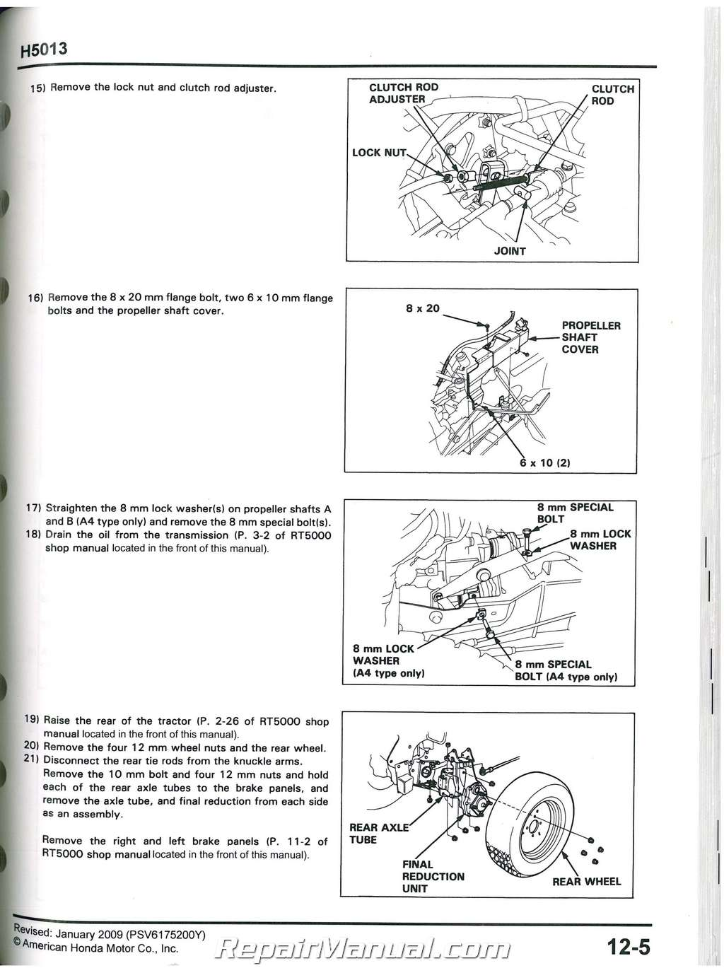 Honda H5013 RT5000 Lawn Tractor Shop Manual on