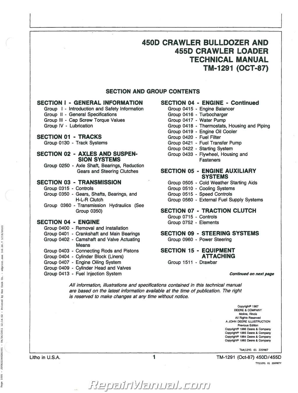John Deere 450d 455d Service Manual
