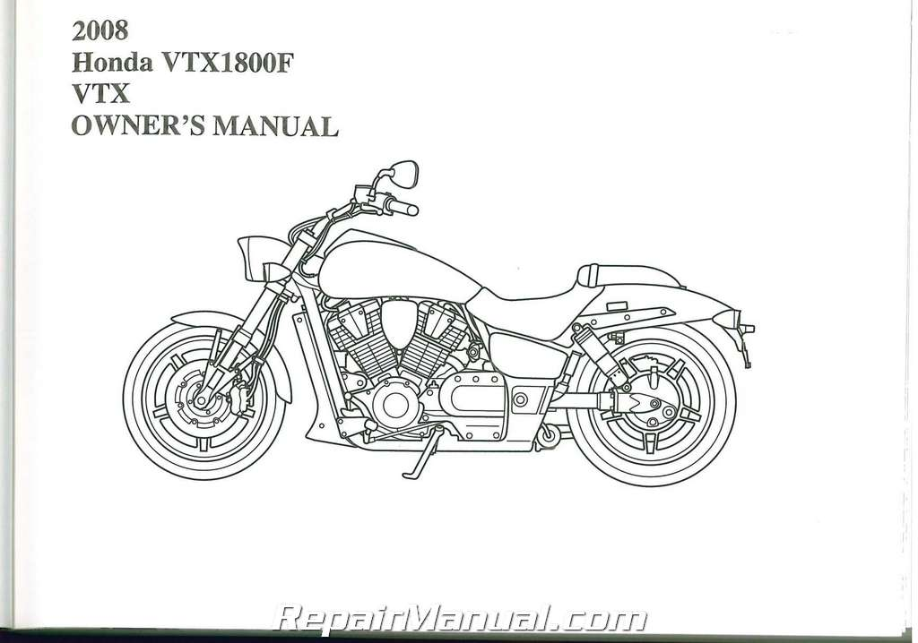 2008 honda vtx1800f a ce motorcycle owners manual