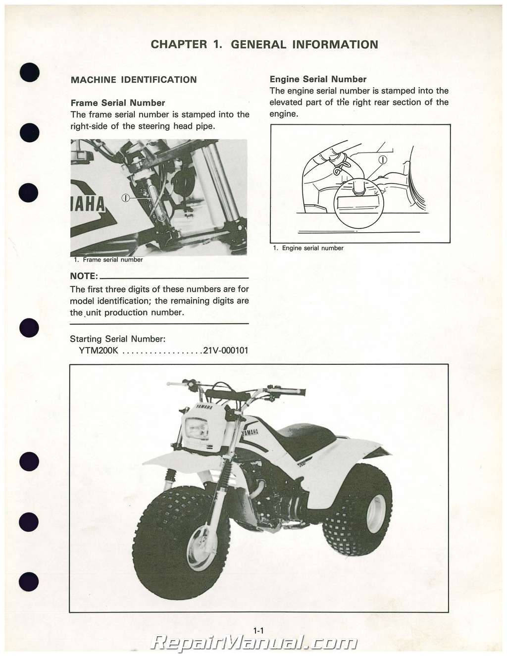 1983 1984 1985 yamaha ytm200k tri moto atc service manual. Black Bedroom Furniture Sets. Home Design Ideas