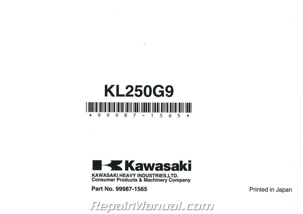 2009 kawasaki kl250g super sherpa motorcycle owners manual