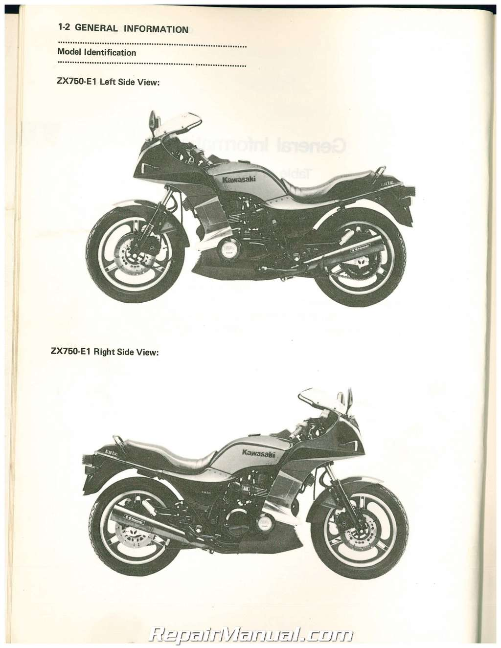 1984 1985 Kawasaki Zx750e1 Turbo E Motorcycle Service Manual Zx750 E1 Wiring Diagram