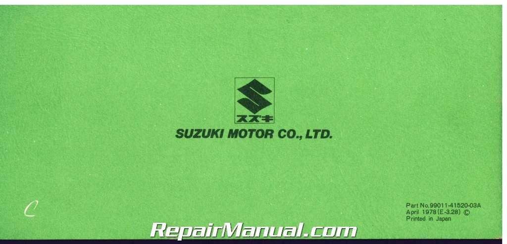 1978 suzuki pe175c motorcycle owners manual