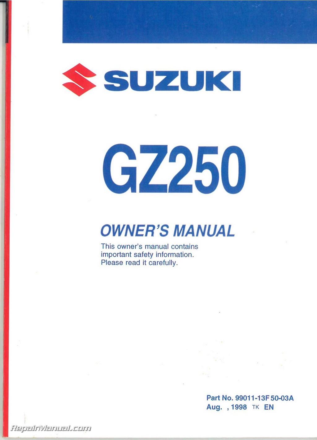Suzuki Gz Owners Manual