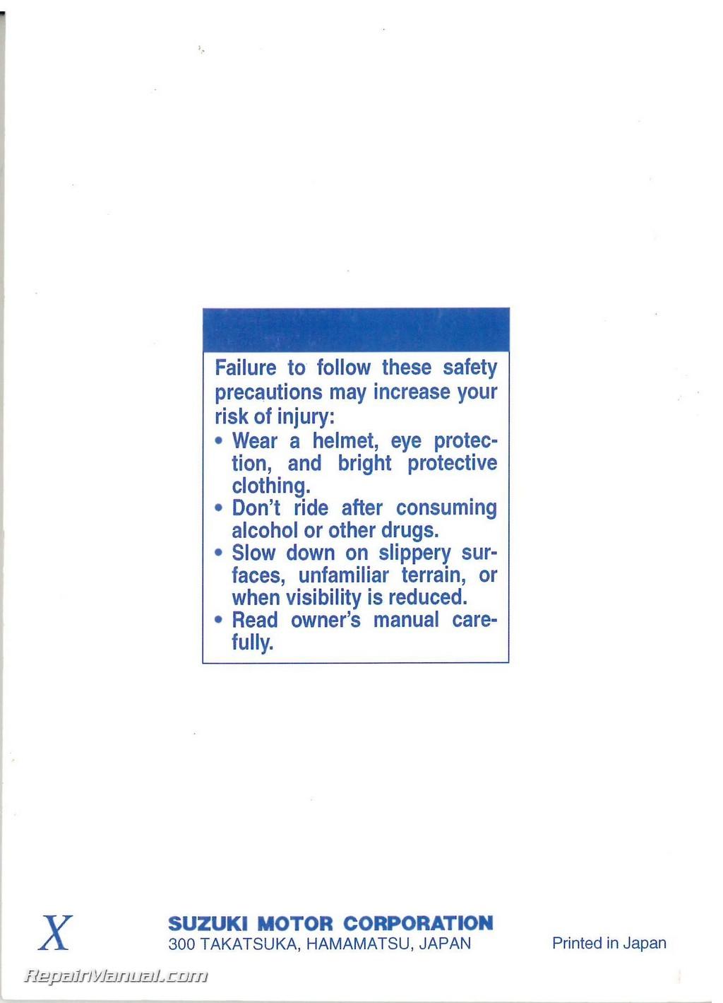 1999 Suzuki Gz250 Marauder Owners Manual