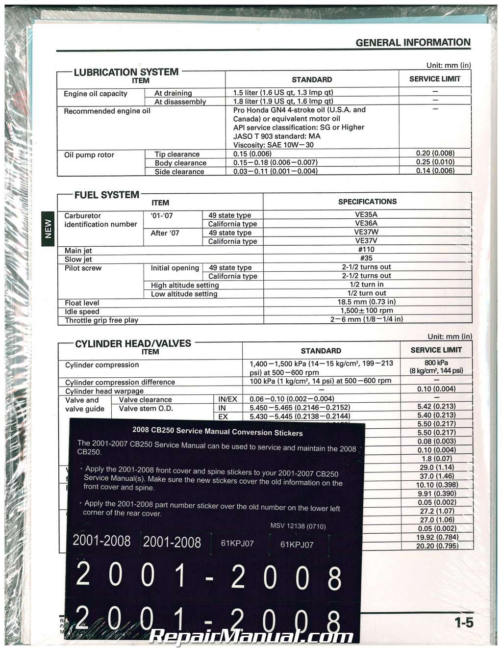 2001 2008 honda cb250 nighthawk motorcycle service manual rh repairmanual com