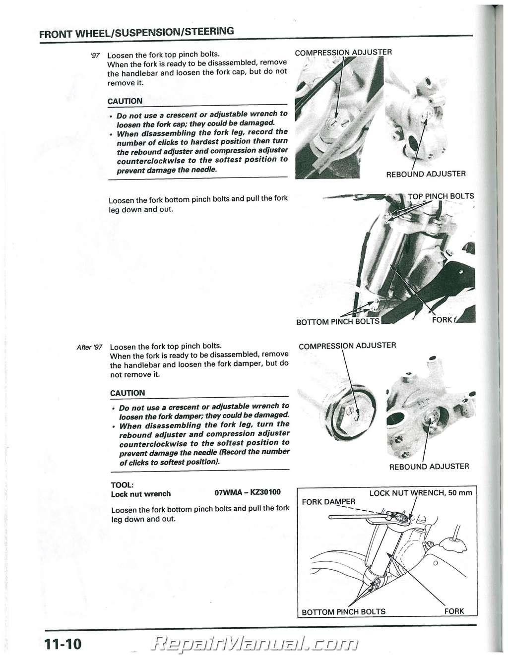 1997 1998 1999 Honda Cr250r Motorcycle Service Manual