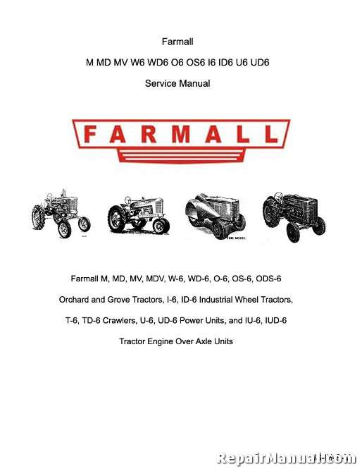 farmall m md mv w6 wd6 o6 os6 i6 id6 u6 ud6 tractor service manual rh repairmanual com JCB Forklift Manuals Bose Speaker Manuals