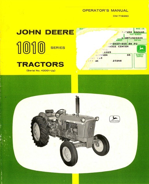john deere 1010 tractor operators manual rh repairmanual com 1962 John Deere 1010 1963 John Deere 1010