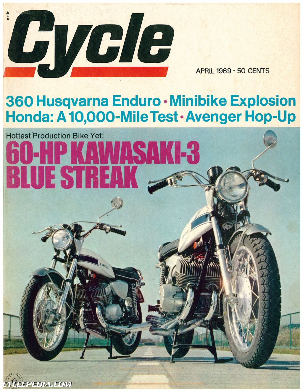April 1969 Popular Mechanics Magazine Vacation Home Plans: April 1969 Cycle Magazine 60 -Hp Kawasaki-3 Blue Streak