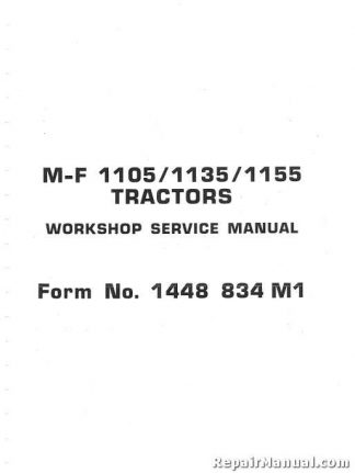 Massey Ferguson MF1105 1135 1155 Tractor Factory Service Manual
