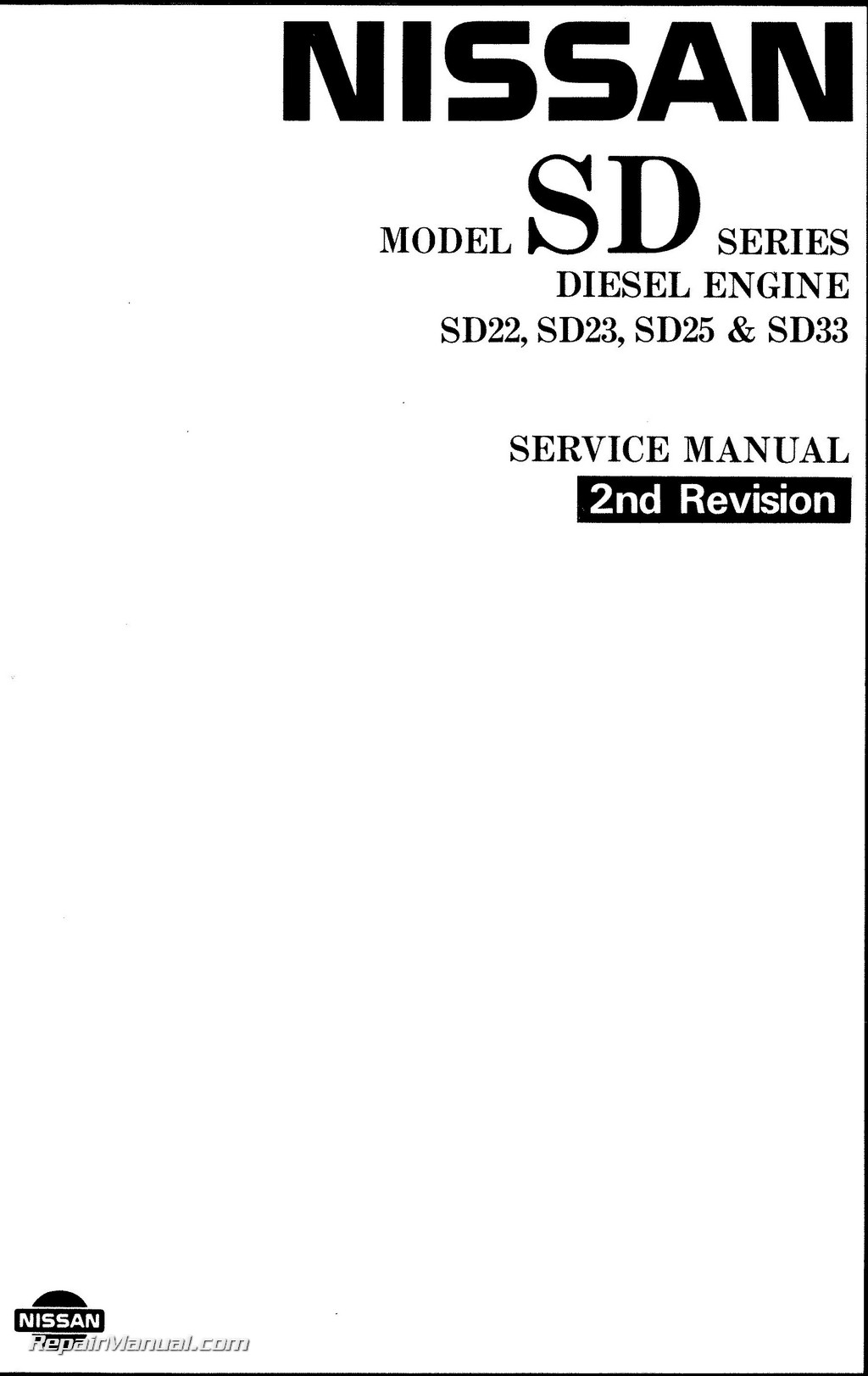 1983 nissan diesel engine sd22 sd23 sd25 sd33 sd33t service manual rh repairmanual com hatz diesel service manual diesel engine service manual