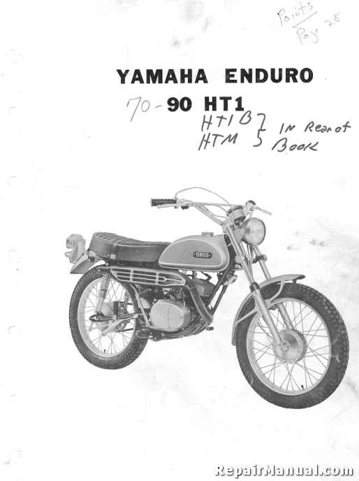 1970 Yamaha HT1 Motorcycle Parts List Parts Manual