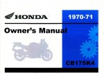 Official 1970-1971 Honda CB175K4 K5 Motorcycle Owner Manual