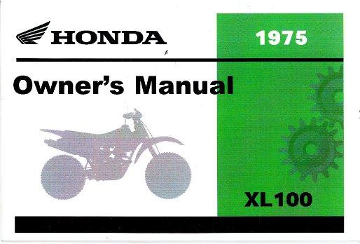 1975 Honda Xl100 Motorcycle Owners Manual