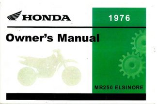 Official 1976 Honda MR250 Elsinore Motorcycle Factory Owners Manual