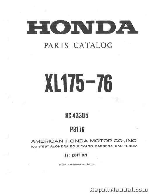 1976 honda xl175 motorcycle parts manual rh repairmanual com Honda SL100 1977 honda xl175 service manual