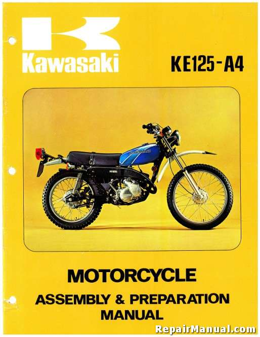 1977 kawasaki ke125 a4 motorcycle assembly preparation manual official 1977 kawasaki ke125 a4 motorcycle assembly preparation manual