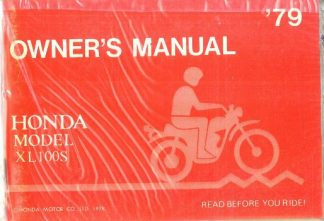 Official 1979 Honda XL100S Owners Manual