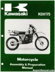 Official 1980 Kawasaki KDX175-A1 Motorcycle Assembly Preparation Manual