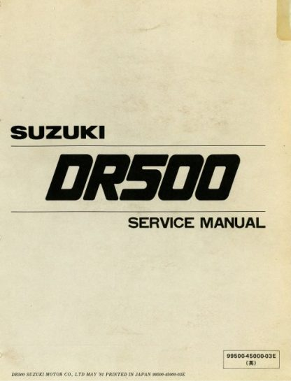 1981-1983 DR500 SP500 Suzuki Motorcycle Service Manual