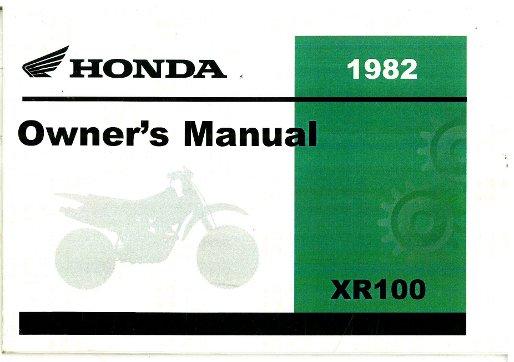 1982 honda xr100 motorcycle owners manual rh repairmanual com honda xr100r service manual pdf honda xr 100 service manual