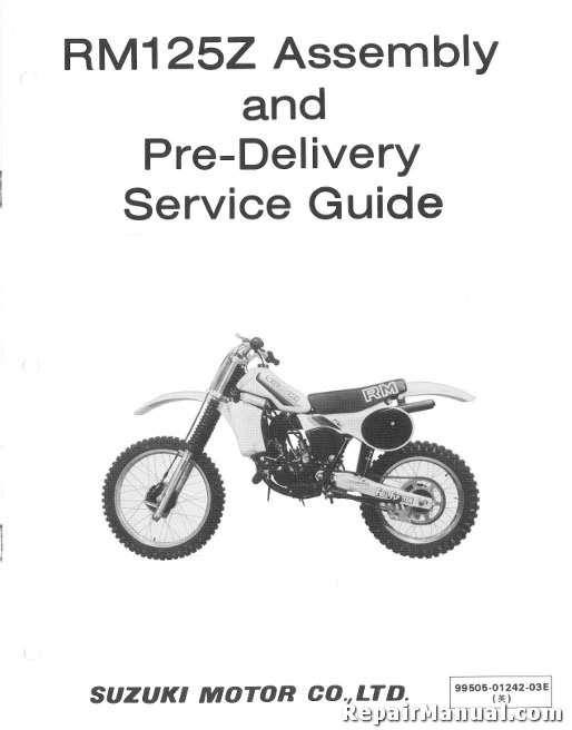 1982 Suzuki Rm125z Motorcycle Assembly Manual