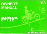 Official 1983 Honda CT110 Motorcycle Factory Owners Manual