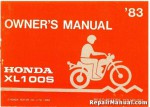 Official 1983 Honda XL100S Motorcycle Factory Owners Manual