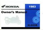 Official 1983 Honda XL600R Owners Manual