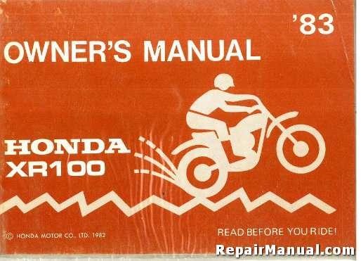 1983 honda xr100 motorcycle owners manual rh repairmanual com honda xr100r service manual honda xr 100 service manual pdf