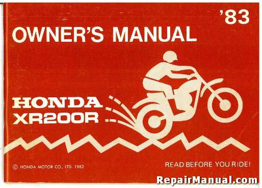 1983 honda xr200 motorcycle owners manual rh repairmanual com honda owner's manual honda owners manuals free