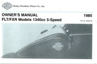 1985-1989 Harley Davidson RLE Sidecar Motorcycle Owners Manual