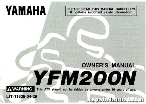 1985 yamaha yfm200n s moto 4 atv owners manual. Black Bedroom Furniture Sets. Home Design Ideas